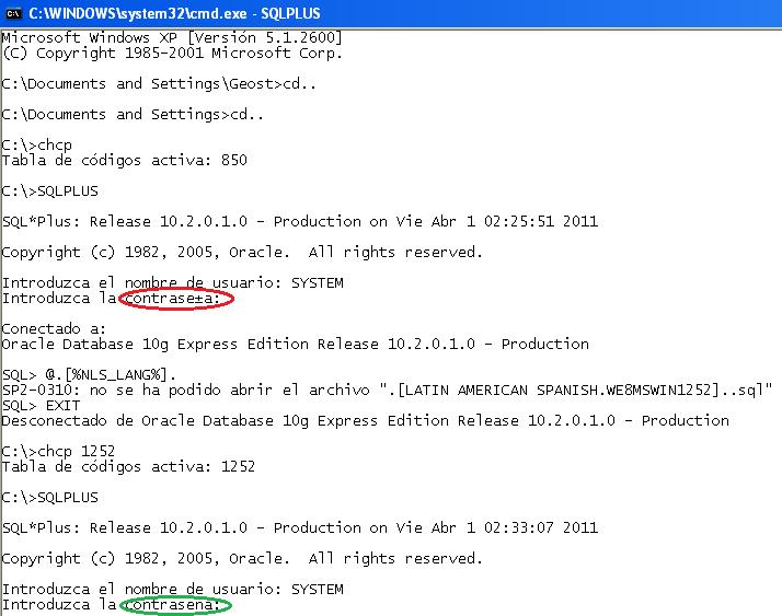 Configuración de NLSLANG dento de ventana CMD.exe