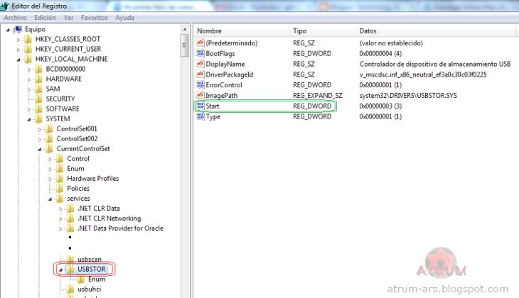 Captura de pantalla con el editor del registro.