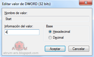 Captura de pantalla donde se edita el valor Start del registro de Windows
