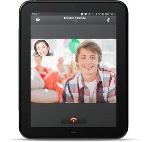 HP Touchpad mostrando pantalla de videollamada