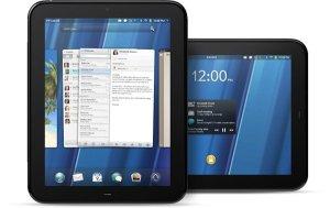 Dos tablets HP Touchpad una en posición vertical y otra en posición hotizontal