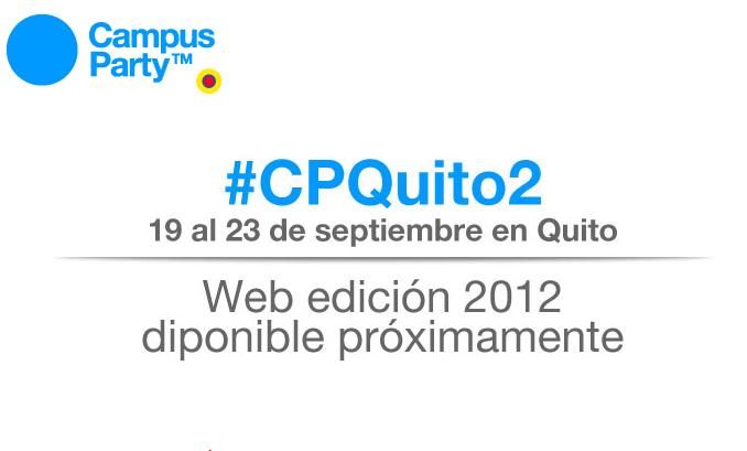 Captura de pantalla de la web del Campus Party Quito 2012