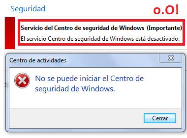 Mensaje del sistema: Activar Centro Seguridad Windows