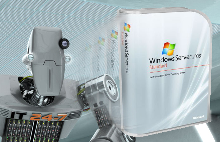 Robot con caja de Windows Server 2008