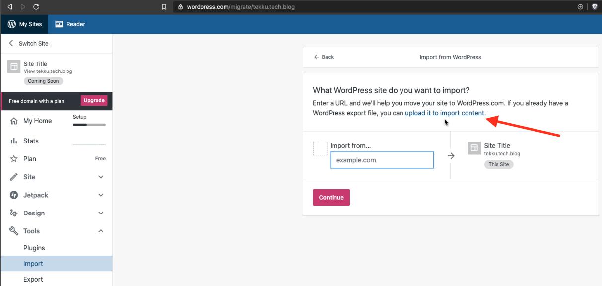 Panel de importación de WordPress.com donde se observa la opción para subir contenido