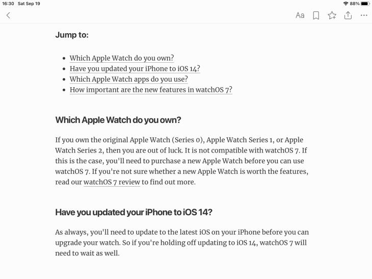 Aplicación de Feedly para iPad mostrando un artículo abierto