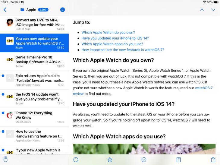 Aplicación de NetNewsWire para iPad mostrando un artículo abierto