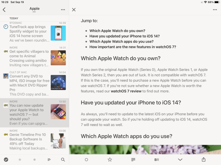 Aplicación de Reeder 4 para iPad mostrando un artículo abierto
