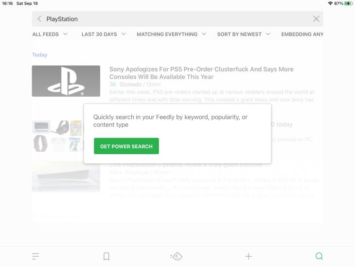Pantalla de búsqueda en Feedly mostrando opción para comprar versión de pago
