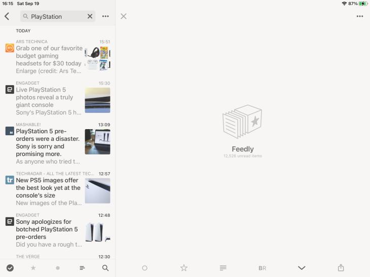 Pantalla de búsqueda en Reeder 4 en iPad
