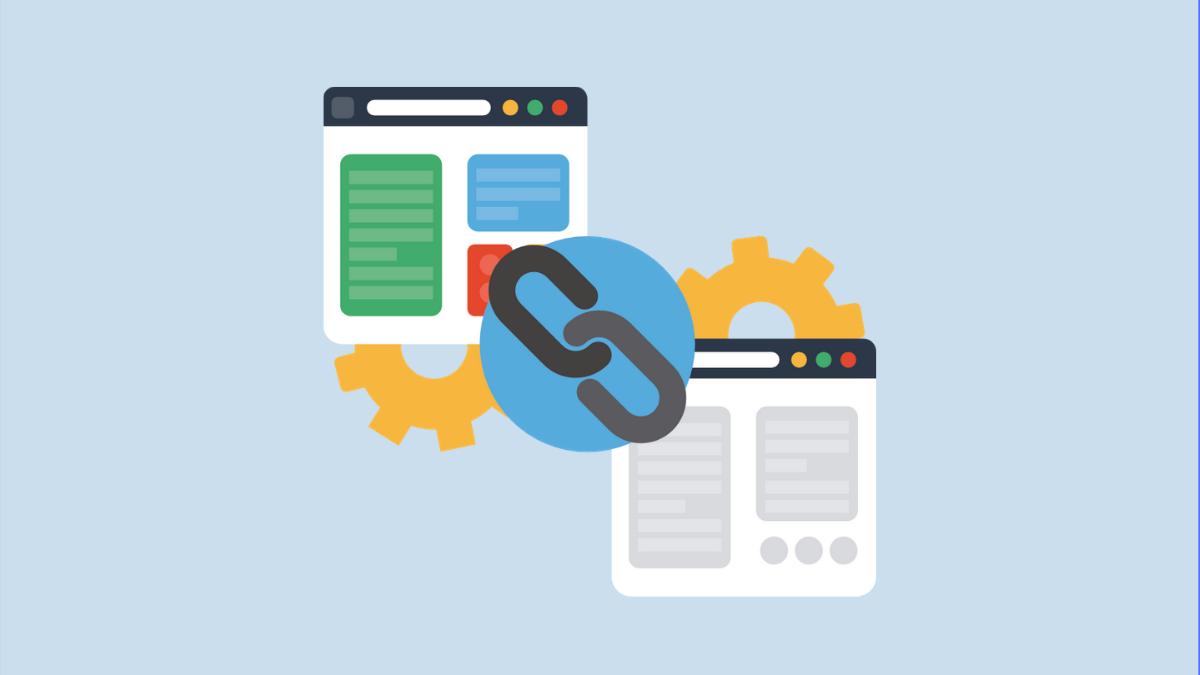 Ilustración que representa cambio de dominio/URL entre dos sitios web