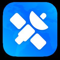 Logo de NetNewsWire - La silueta de un satélite con fondo azul
