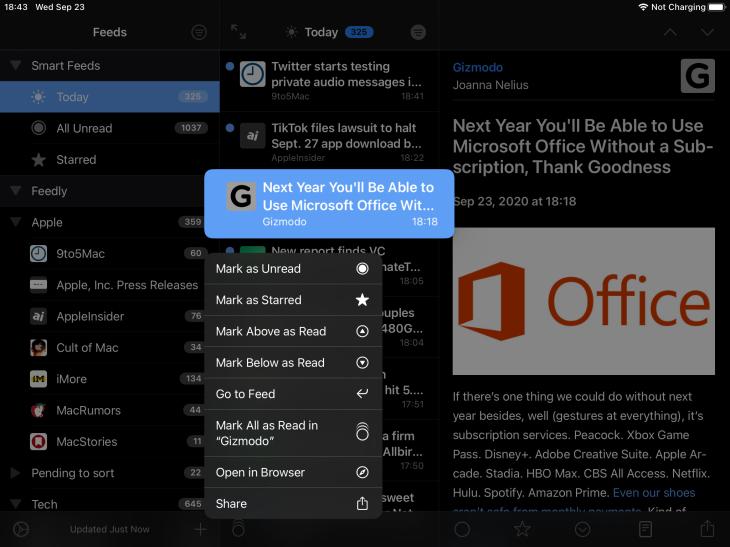 App de NetNewsWire para iPad mostrando menú contextual