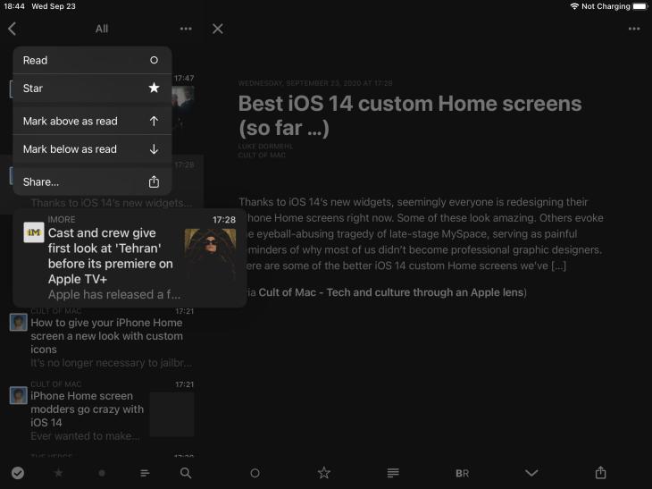 App de Reeder 4 para iPad mostrando menú contextual
