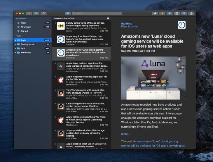 App de NetNewsWire para Mac mostrando un artículo en modo nocturno