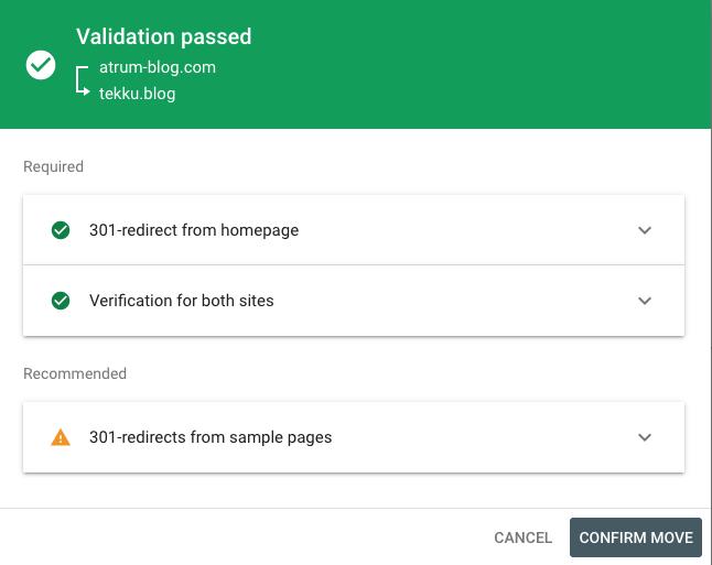 Pantalla de verificación de cambio de dirección en Google Search Console indicando que los requerimientos necesarios se cumplen