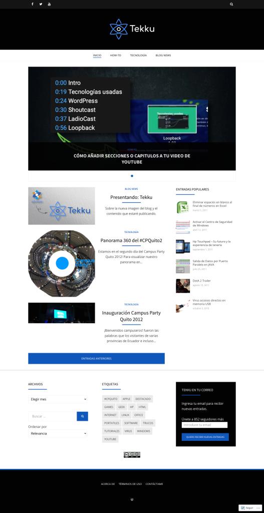 Captura de pantalla de diseño de Tekku Blog en 2020