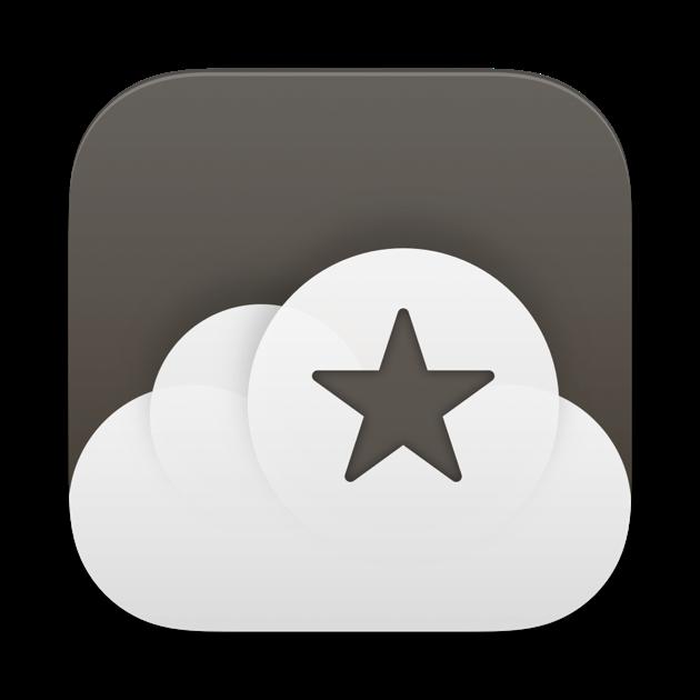 Ícono del lector RSS Reeder 5: Forma de nube con una estrella