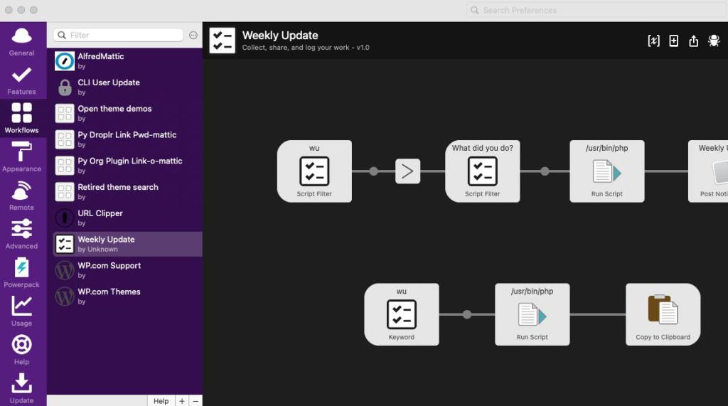 Captura de pantalla de sección de Workflows en Alfred
