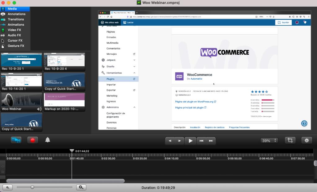Captura de pantalla de Camtasia 2 con un proyecto de video abierto