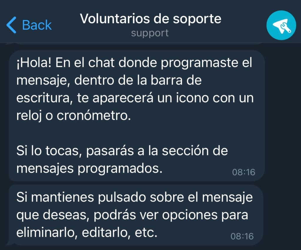 Captura de pantalla de mensaje de chat voluntarios de soporte para Telegram en app móvil. En el mensaje se visualizan instrucciones para ver mensajes programados.