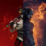 Hades con su espada a la izquierda y asesino Trapper en la derecha