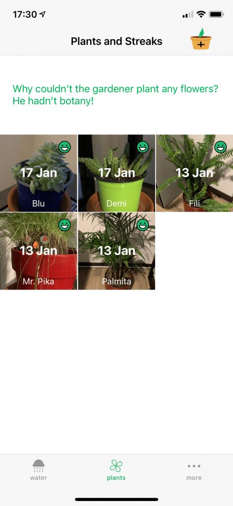 Captura de pantalla de app HappyPlant en iPhone mostrando plantas registradas