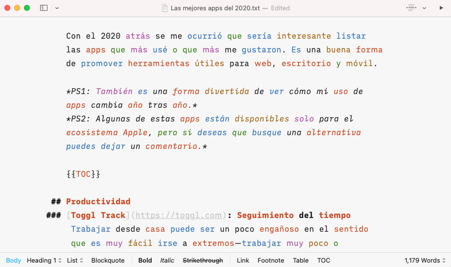 Captura de pantalla de iA Writer con contenido de entrada