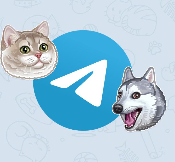 Logo de Telegram con un gato gordito y un perro Husky sonriendo