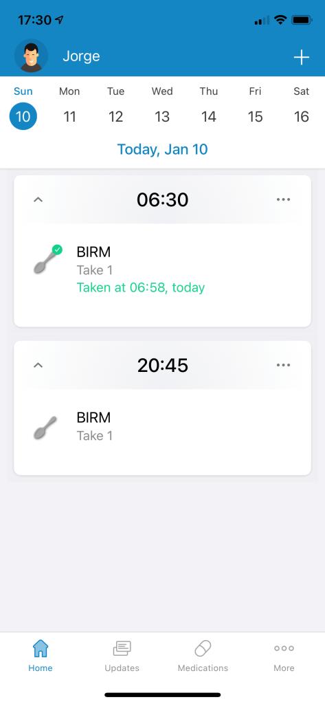 Captura de pantalla de Medisafe en iPhone mostrando recordatorios de medicina