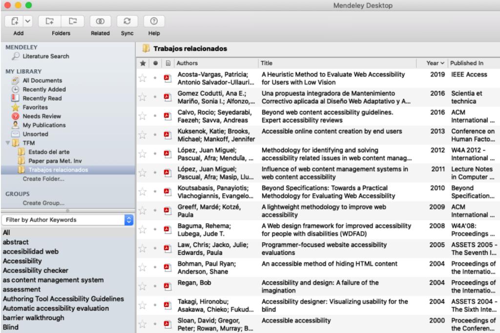 Captura de pantalla de Mendeley mostrando fuentes bibliográficas sobre estudios de accesibilidad