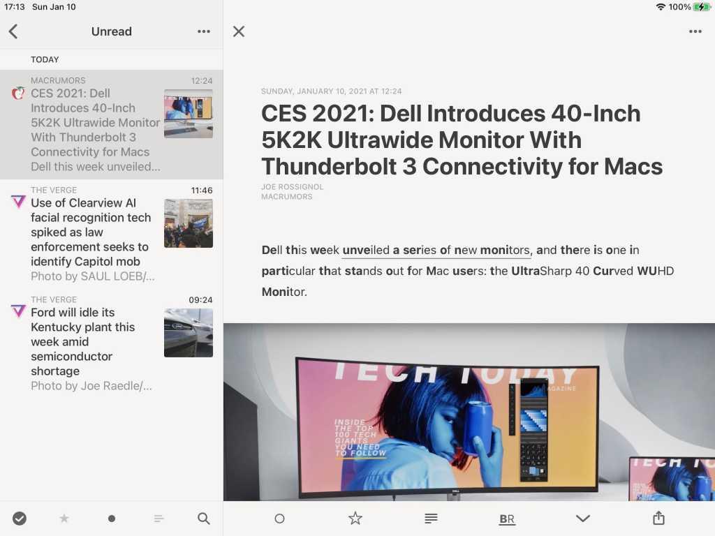 Captura de pantalla de Reeder 4 mistrando artículos de tecnología