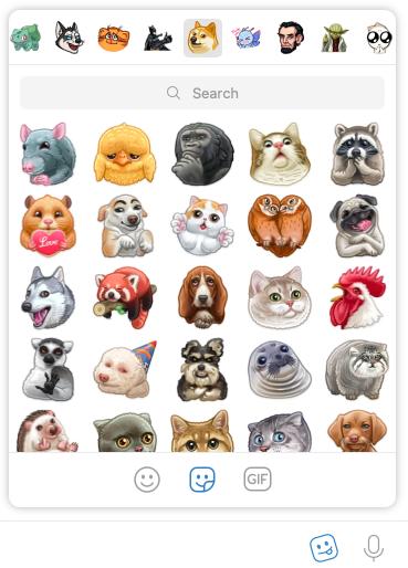 Captura de pantalla que muestra galería de stickers de Telegram en app de escritorio