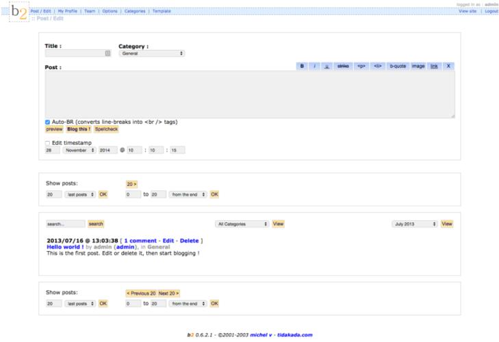 Captura de pantalla que muestra la pantalla de creación de entradas de la versión 0.6.2.1 de b2.