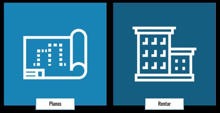 """A la izquierda: ícono de planos con fondo celeste y etiqueta que dice """"Planos"""". A la derecha: ícono de edificio con fondo azul y etiqueta que dice """"Rentar""""."""